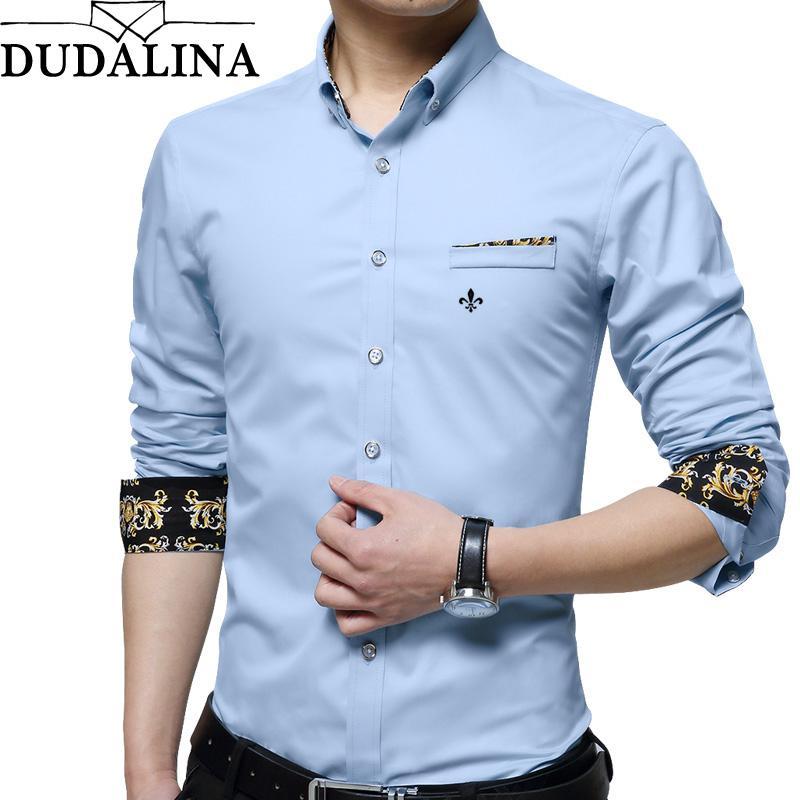 576af7c2b5 Compre DUDALINA 100% Algodão Homens Roupas Slim Fit Camisa De Manga Longa  Dos Homens Decorados Bolso Casual Camisa Social Importados China De  Xaviere
