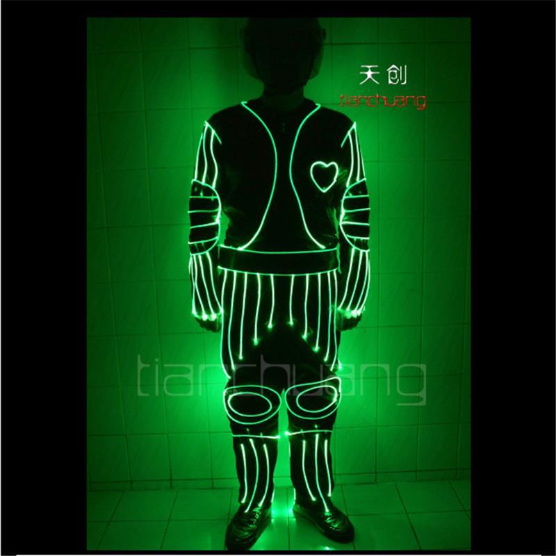 TC-40 программируемый lumious LED танцевальная одежда бальный зал светодиодные костюмы свет RGB полный цвет бар робот ткань мужчины LED ткань износ этап производительности