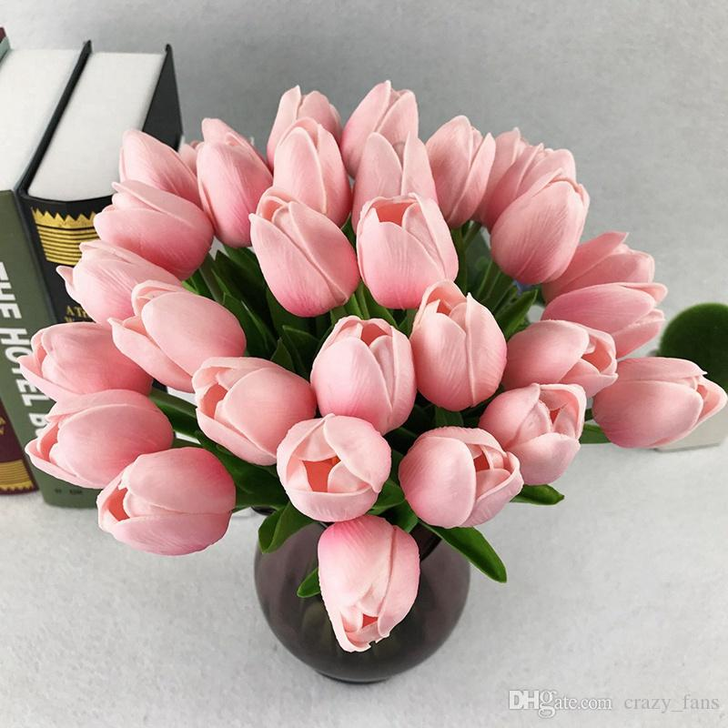 2019 Tulips Artificial Flowers Silk Flowers Real Touch Tulip 25inch - Which-artificial-flower-colors-are-good-for-a-home