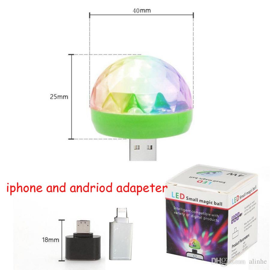 USB Laser Light Mini RGB LED Disco Ball Shape Stage Effect Convenient For Party Club DJ Light Mobile Phone PC Power Bank