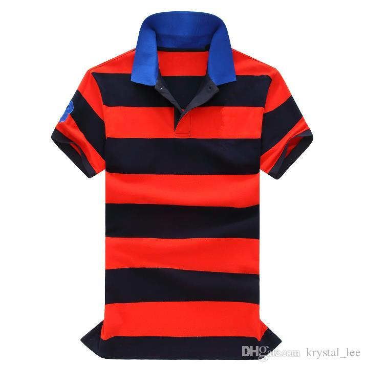 big horse New brand polo stripe shirt men fashion Business camisa masculina hombre manga corta marca blouse blusa chemise homme WNS1028