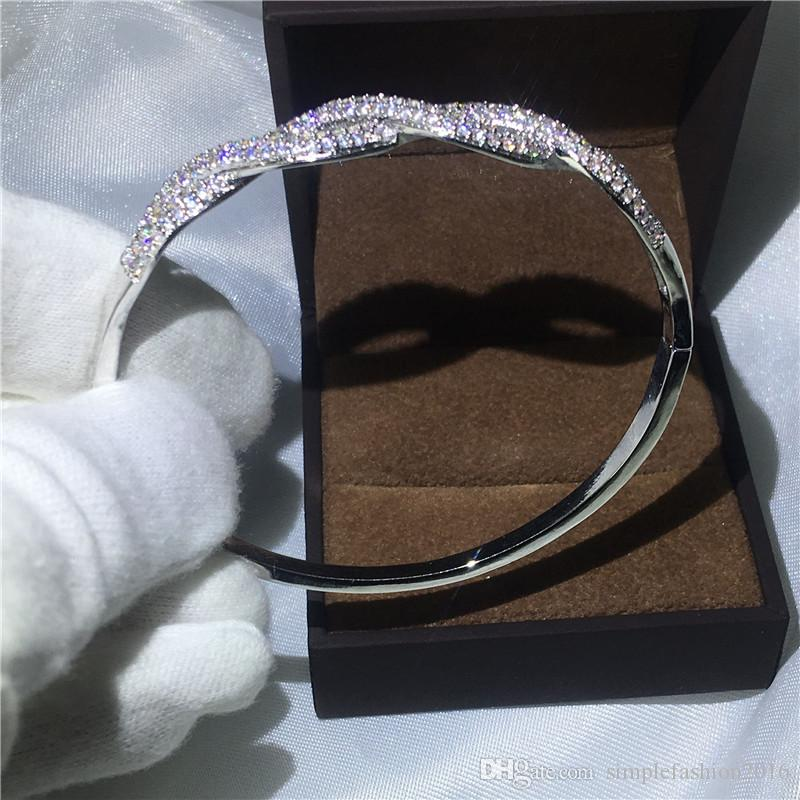Infinity bracelet Pave setting Diamond S925 Silver Filled Cross shinning bangle for women wedding accessaries