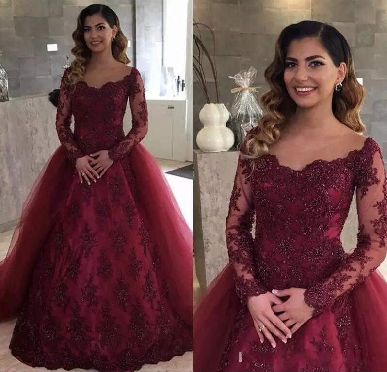 Elegant Burgundy Lace Sheer Long Sleeves Prom Dresses 2018