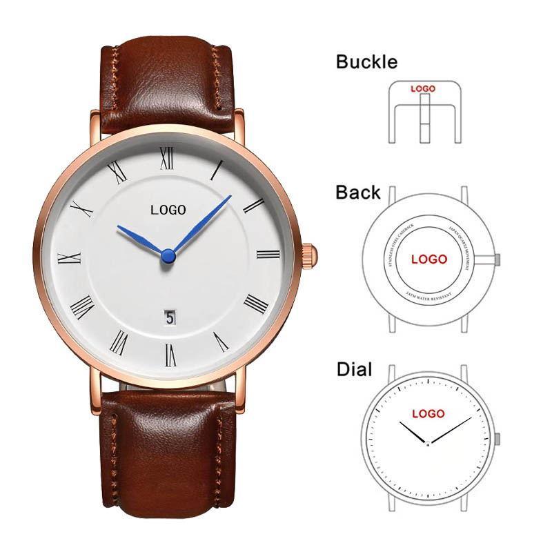 1bbd64b13ab2 Compre B 8210A Custom Men Watch Números Romanos Dial Relojes De Pulsera De  Cuero Genuino Calendario OEM Logo Reloj Personalizado A  51.61 Del  Green home ...