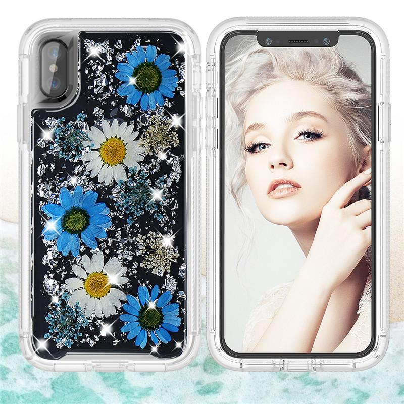 Shockproof Case for iPhone X Luxury Glitter Dried Natural Flower Girl PC TPU Clear Protector Case Cover for iPhone X Accessories