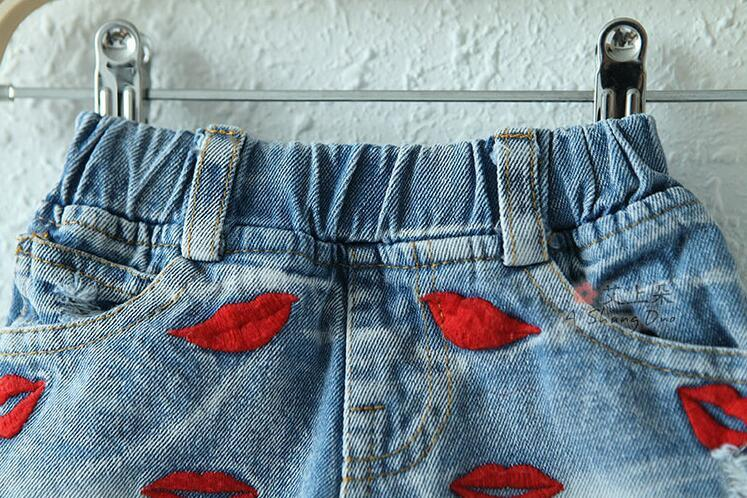Embroidery red lip Jeans Shorts for Boy Summer Style Denim Boy's Panties New Jeans Shorts for Children Girls Shorts 18M-8T