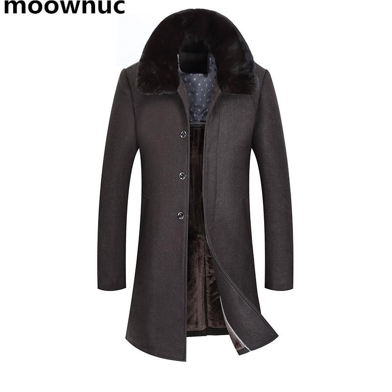 6fa64dac6 NUEVA marca de abrigos de lana para hombre con cuello de piel 2018 High-end  de invierno para hombre Casual de negocios larga capa gruesa slim fit más  ...