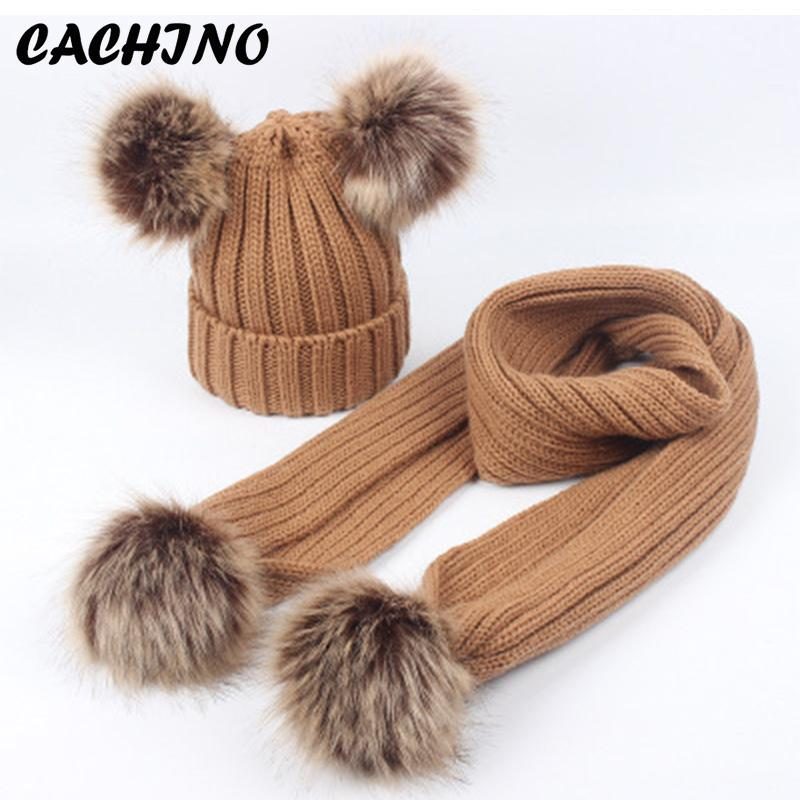 7cf837e2f25 CACHINO Hat And Scarf Set For Girl Wool Knitted Baby Winter Scarf Caps  Children Boy Parental Suit Fur Pompom Skullies Beanies Sun Hats Sun Hat  From ...