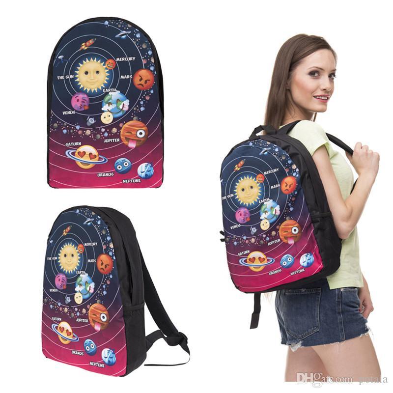 add74a1009 Acquista Stars Emoji Zaino Borse Pack Galaxy Sorriso Stampa Venus Jupiter  Of 44 * 27 * 14CM Emoticon Assortito Torna A Borse Da Scuola Kidsadults  Bomboniere ...