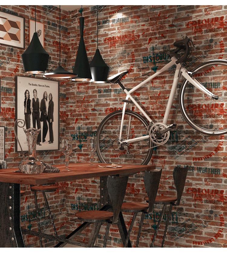 2018 Neue Pvc Vintage Ziegelstein Tapete 3d Cafe Bar Bekleidungsgeschaft Tapete Rolle Curb Papel De Parede Brief Graffiti Tapeten