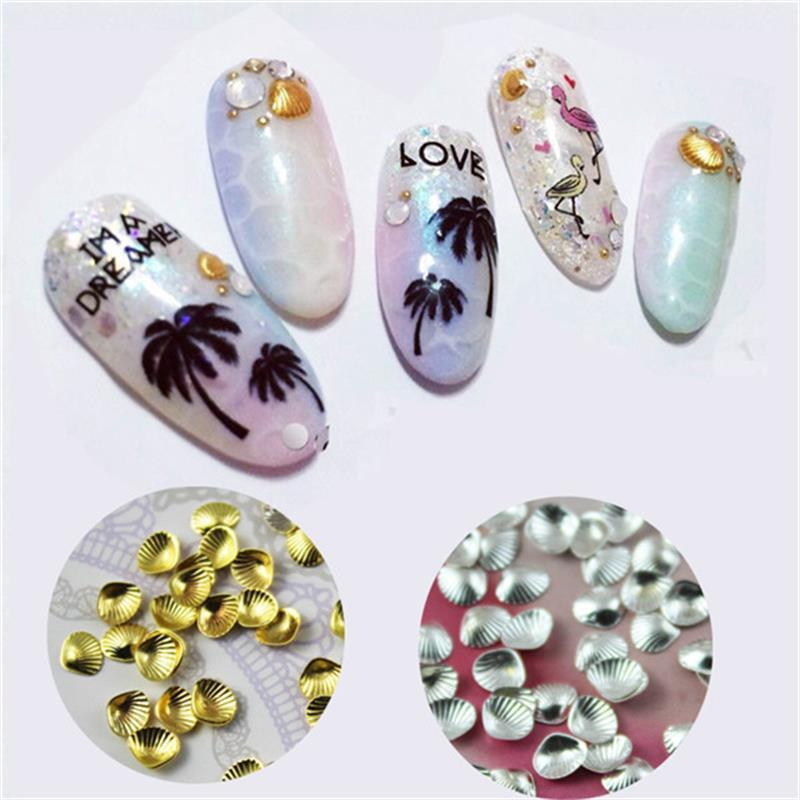 10Pcs/Bag Metal Clam 3D Nail Decoration 3mm/5mm Pretty Shell For UV Gel Nail Art Decoration