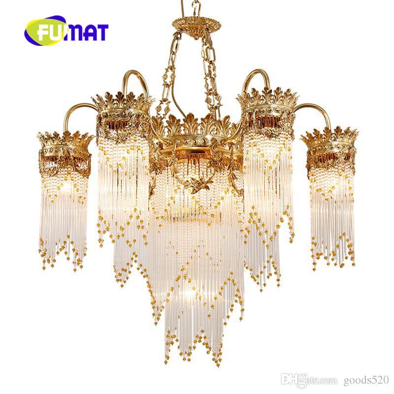 New lusso rame lampadario di cristallo moda francese scala di cristallo di rame illuminazione adatta il soggiorno hall dell'hotel