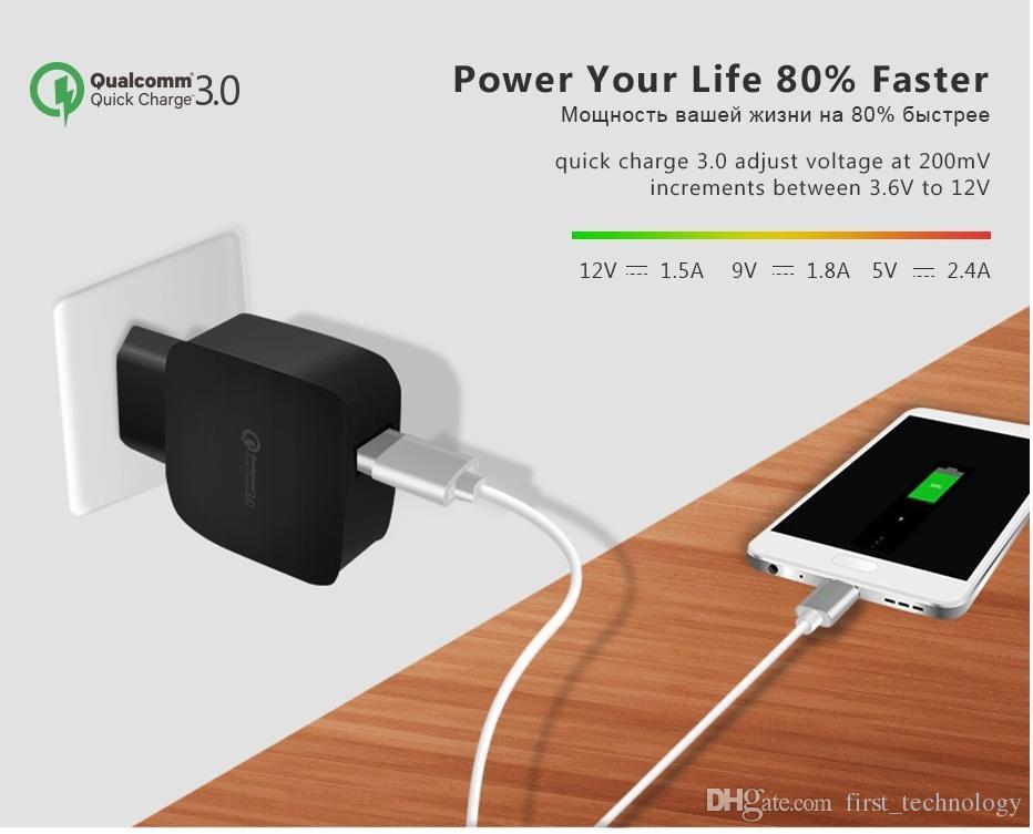 아이폰 X 8 7 빠른 충전 3.0 벽 USB 충전기 삼성 Xiaomi 빠른 충전기 QC 3.0 모바일 충전기