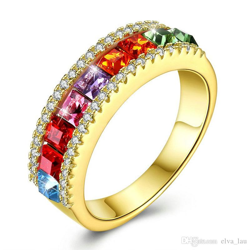 2d2005143 2019 Classic 925 Sterling Silver Couple Rings Jewelry Gold Plated Swarovski  Elements Crystal Rings For Women US Size 6 7 8 9 From Elva_lau, $16.99 |  DHgate.