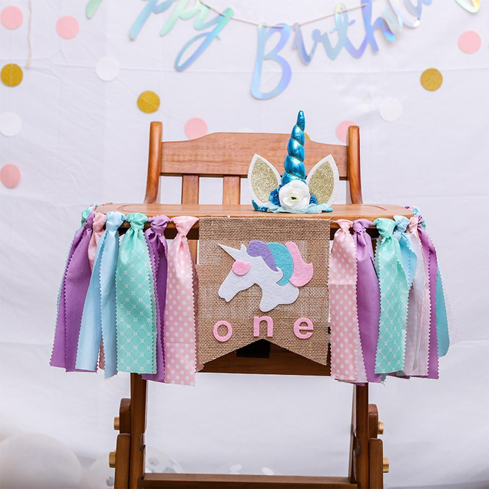 2019 Unicorn One First Birthday Chair Banner Baby Girl Boy Bunting Princess Flag Shower Party Decorate Nursery Garland From Liuyanggarden