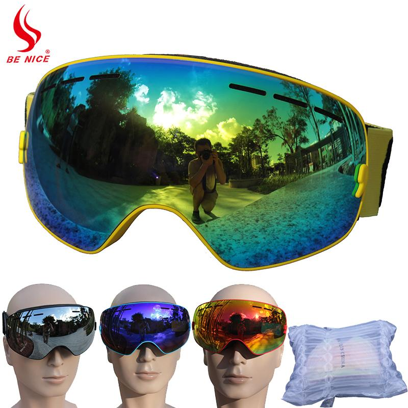 Benice Brand Ski Goggles Double Layers UV400 Anti-fog Big Ski Winter Skiing Glasses Snowboard Goggles