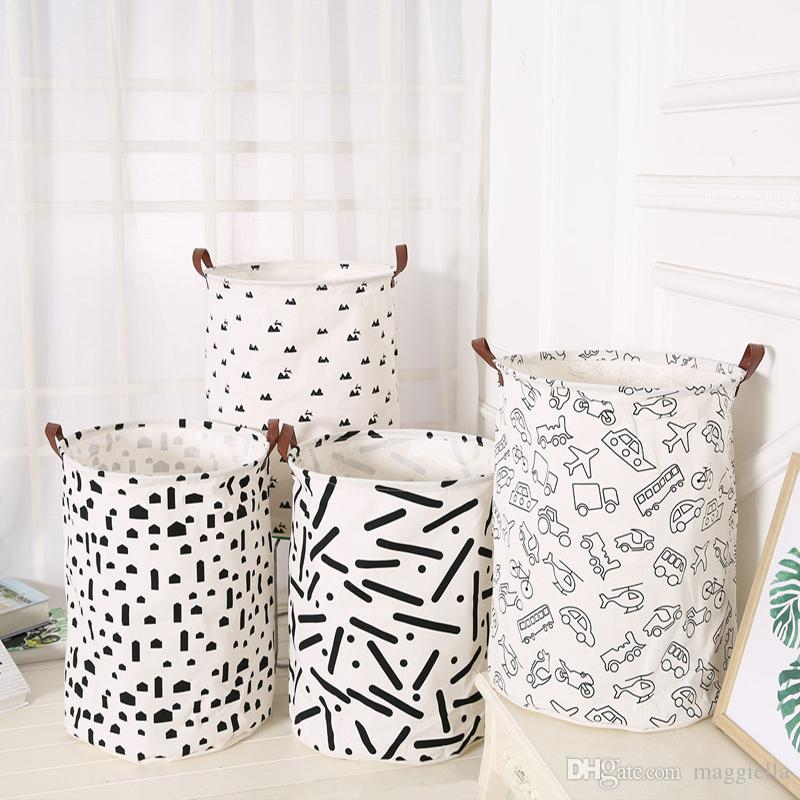 5pcs/lot Nordic Style Cotton Linen Dirty Clothes Storage Barrel Folding Portable Laundry Basket Kids Toys Sundries Organizer 40*50cm