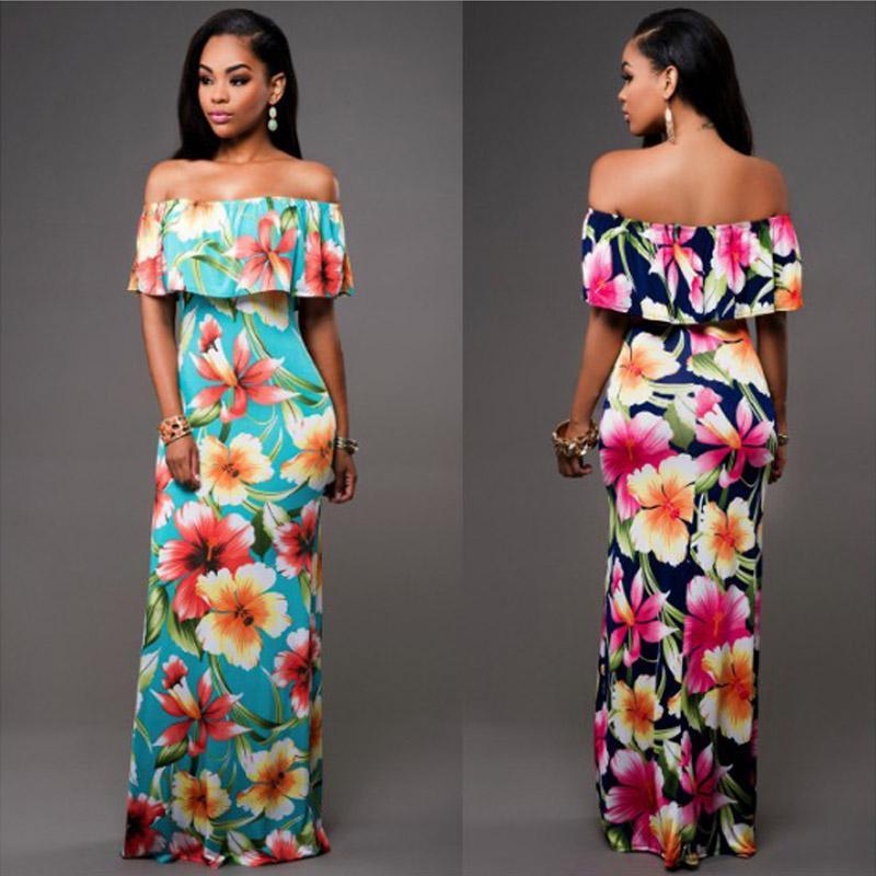 2018 New Stylish Elegant Women Off Shoulder Floral Print Short Sleeve Ruffles Boho Dress Ladies Evening Party Long Dresses