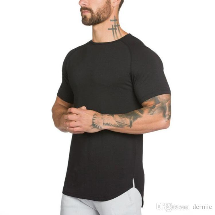 207c92feb72 2018 New Brand Clothing Mens Black Short Sleeve T Shirt Hip Hop Extra Long  Tops Tee Tshirts For Men Cotton Golds Gyms T Shirt T Shirt T Tee Shirts  Online ...