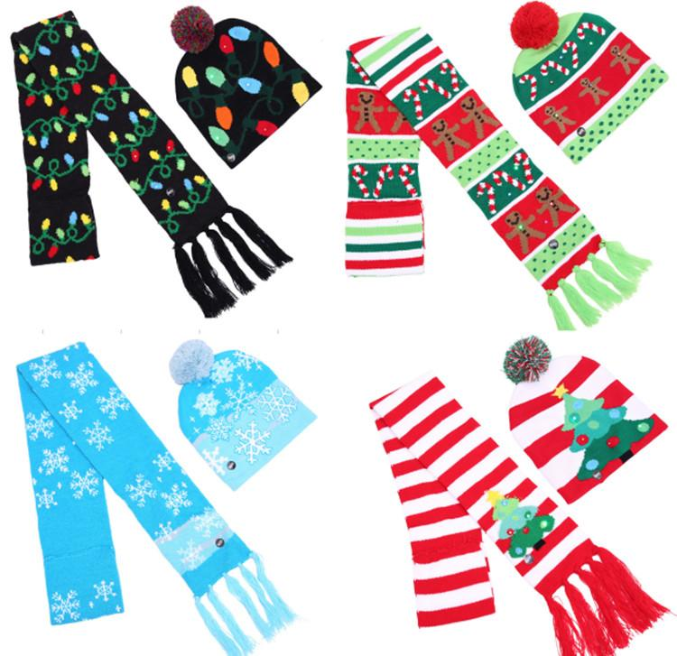Compre Navidad LED Tejer Sombrero Bufanda Conjunto Luces Led Pom ...