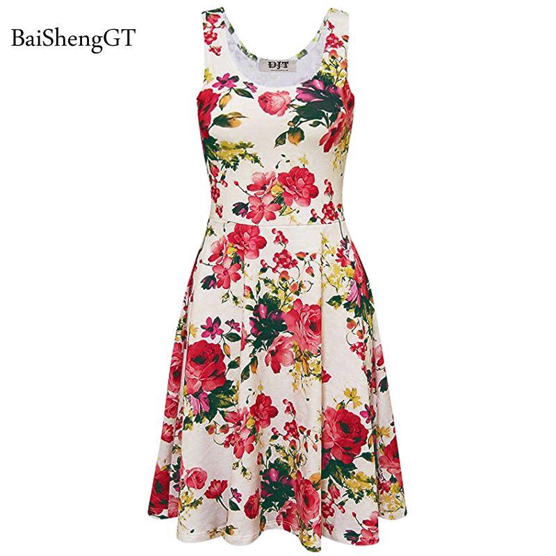 b3851230c0e Summer Women Beach Dress Casual Party Dresses 2018 Flower Pattern A Line  Sexy Sleeveless Ladies Frocks Plus Large Size Vestidos Plus Size Cocktail  Dresses ...
