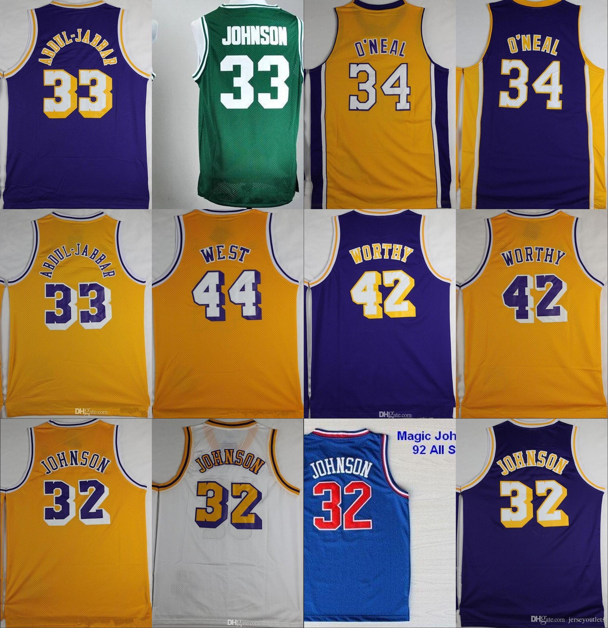 307c5b57bca ... jersey 33 basketball psadna certified c7c0b 43b0f; where to buy 32  magic johnson 33 kareem abdul jabbar 34 shaquille oneal 42 artest worthy