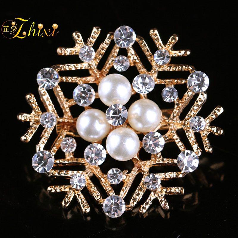 a7331c82b50 ZHIXI Brand Luxury Shiny Zircon Jewelry Brooch Simple And Stylish ...