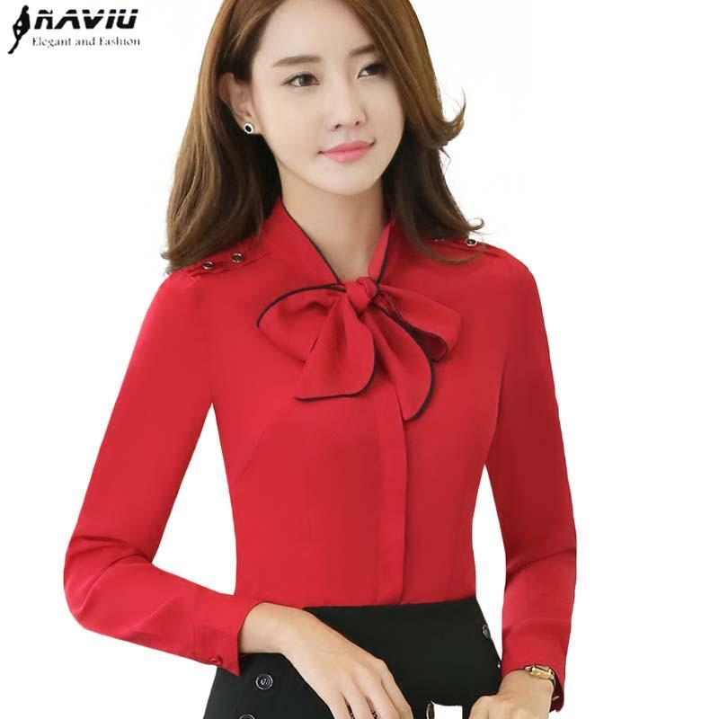 8cbf07cb517 2019 New OL Bow Tie Elegant Shirt Wowen Professional Formal Long Sleeve  Slim Fashion Chiffon Red Blouse Office Ladies Plus Size Tops From Alberty