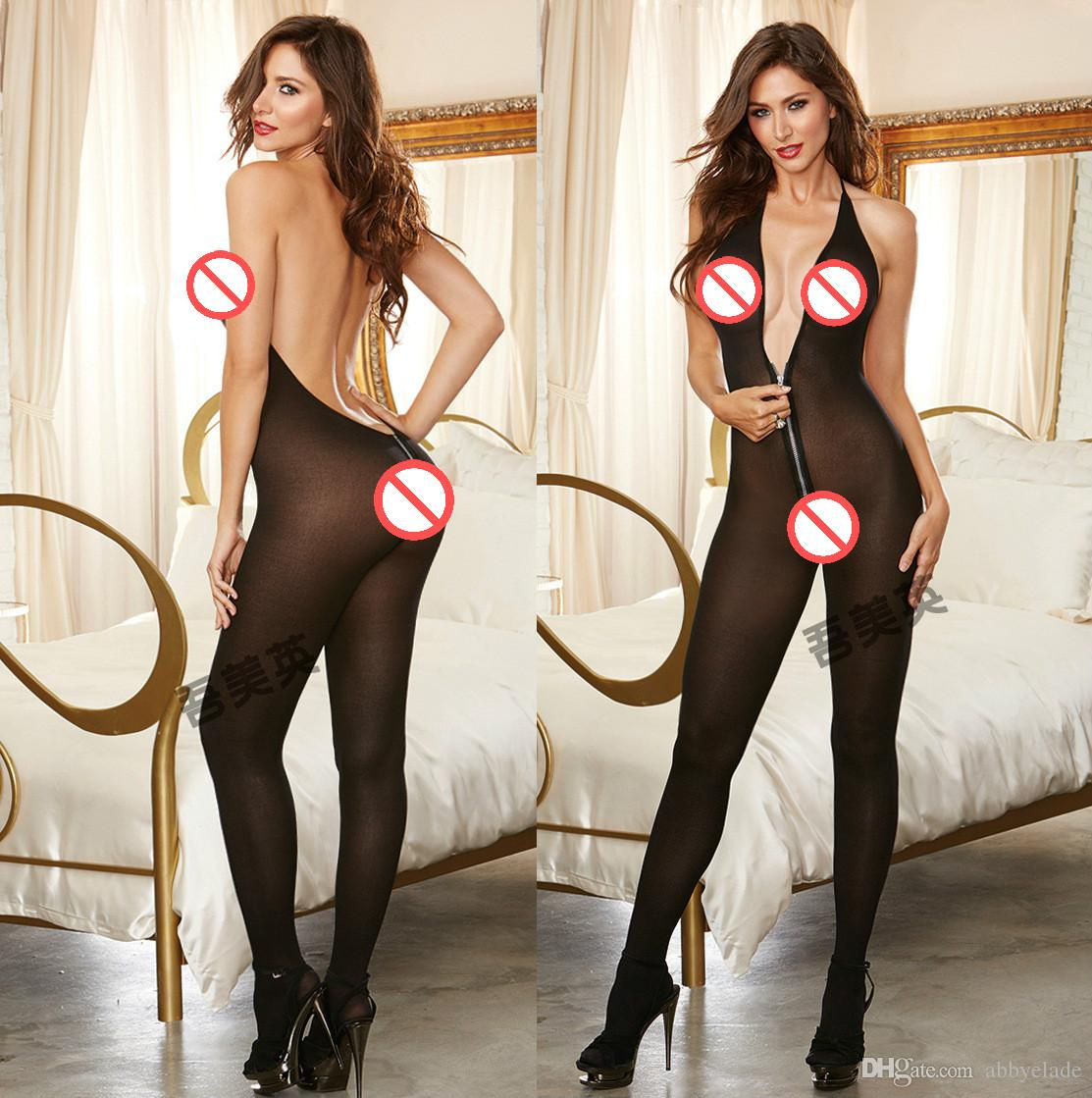 f6998a5d69c7 Compre Bodystocking Sexi Zipper Mujer Sexy Erotic Sheer ...