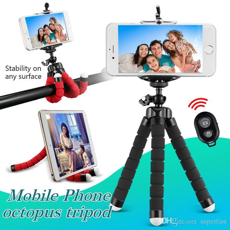 Polvo flexível tripé suporte do telefone suporte universal stand para telefone celular câmera do carro selfie monopé com bluetooth obturador remoto
