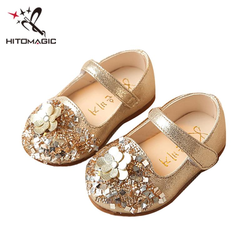 HITOMAGIC Baby Leather Shoes Girls First Walkers Princess Toddler Kids Footwear With Flower Soft Sole For Dance Dress 0-2 Years