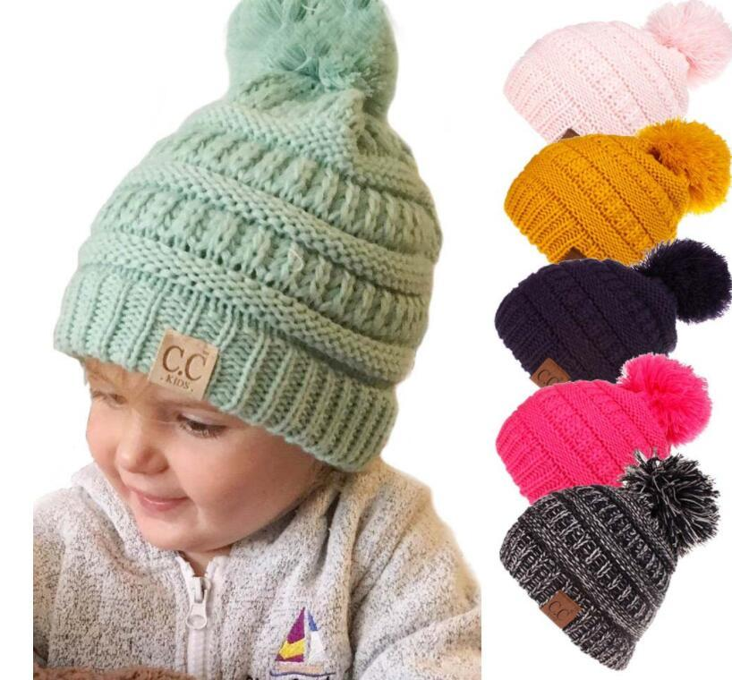 bb89051e072 Cheap Kids Cc Hat Baby Beanie Hat Pompom Hat Kids Knitted Cap For Ages 1-8  Years Boys Girls Winter Beanie KKA6049