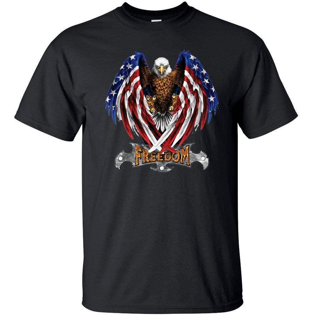 American Freedom Bald Eagle Flag Unisex Mens 2018 fashion t shirt 100% cotton tee shirt tops wholesale tee