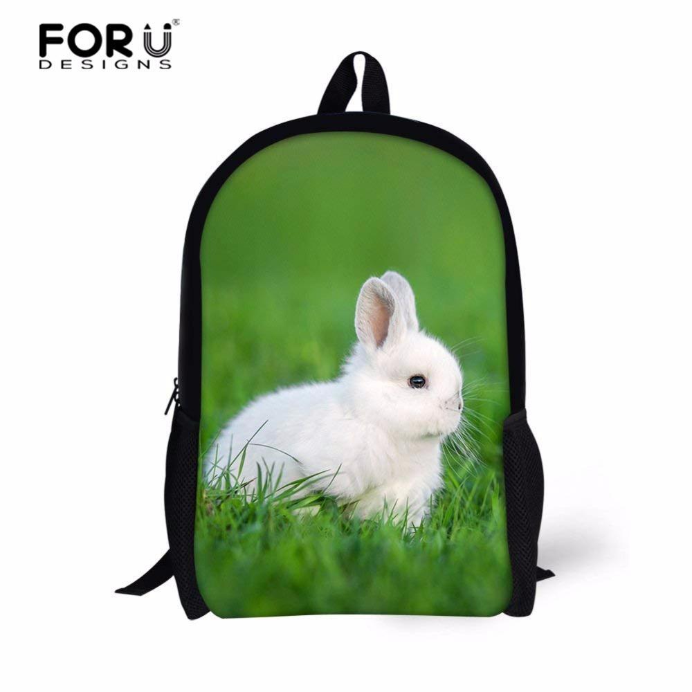 FORUDESIGNS Cute Rabbit Backpack Kid Girls School Bags Toddler Backpack For  Teenagers Kids Daily Bags Gift Backpacks Custom Made Girls School Bags Side  Bags ... 3fa885064ae4b