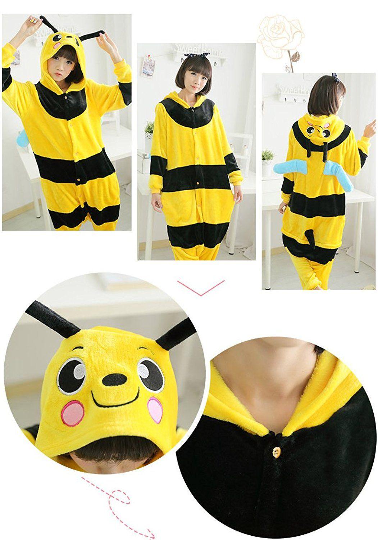 Unisex Adult Cartoon Cosplay One Piece Onesie Kigurumi Pajamas Bee