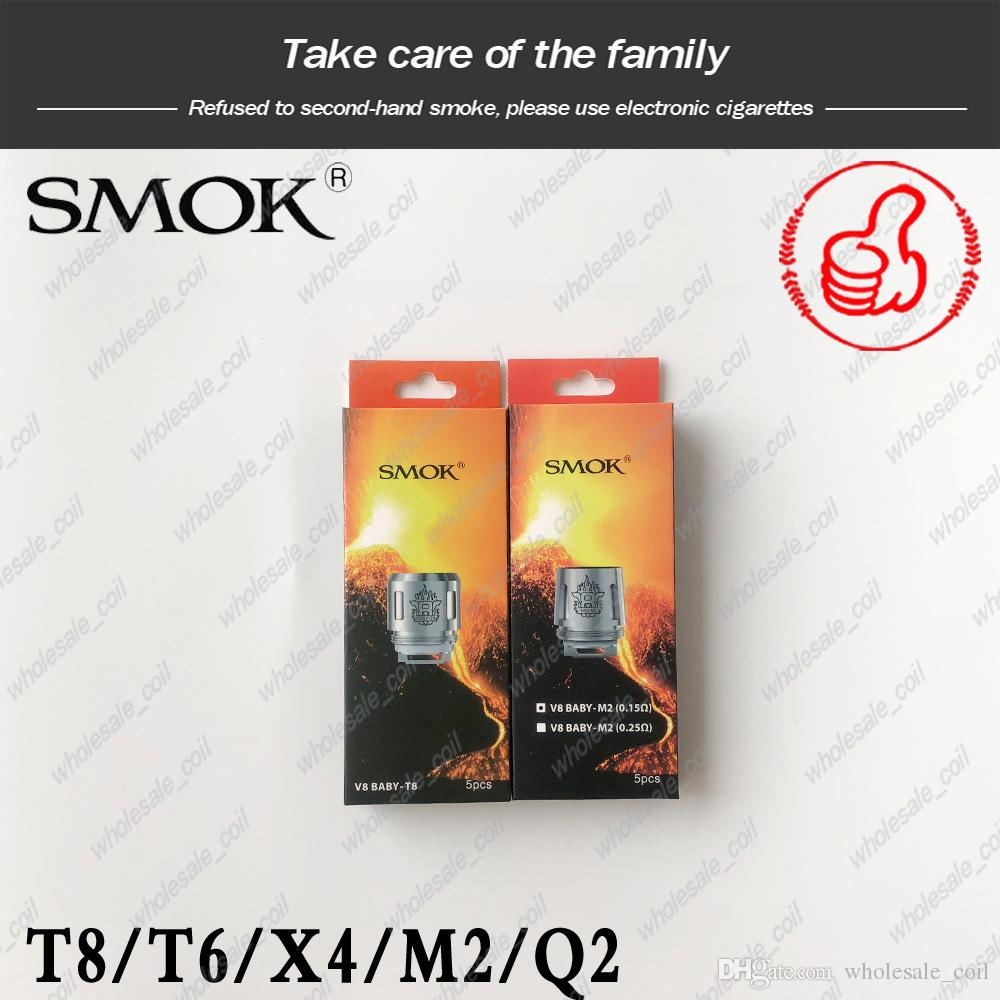 100% Original SMOK TFV8 BABY Beast Tank Coil Head V8 Baby-T8 T6 X4 M2 Q2 ohm Core Replacement Coils Genuine