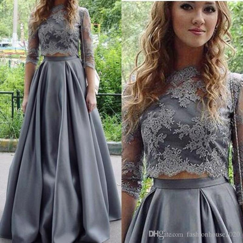e96c3d5b4cef 2018 Gray Prom Dresses Two Piece Jewel Neck Lace Applique Top Three Quarter  Sleeves Satin Formal Party Wear Evening Gowns Homecoming Wear Poofy Prom  Dresses ...