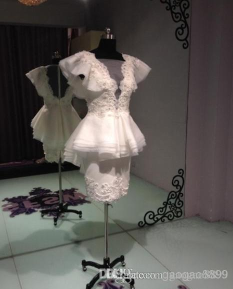 Krikor Jabotian Sheath Pearls Short Prom Dresses Beaded Peplum Ruffles Organza Little White Beach Bridal Evening Party Gowns 2019
