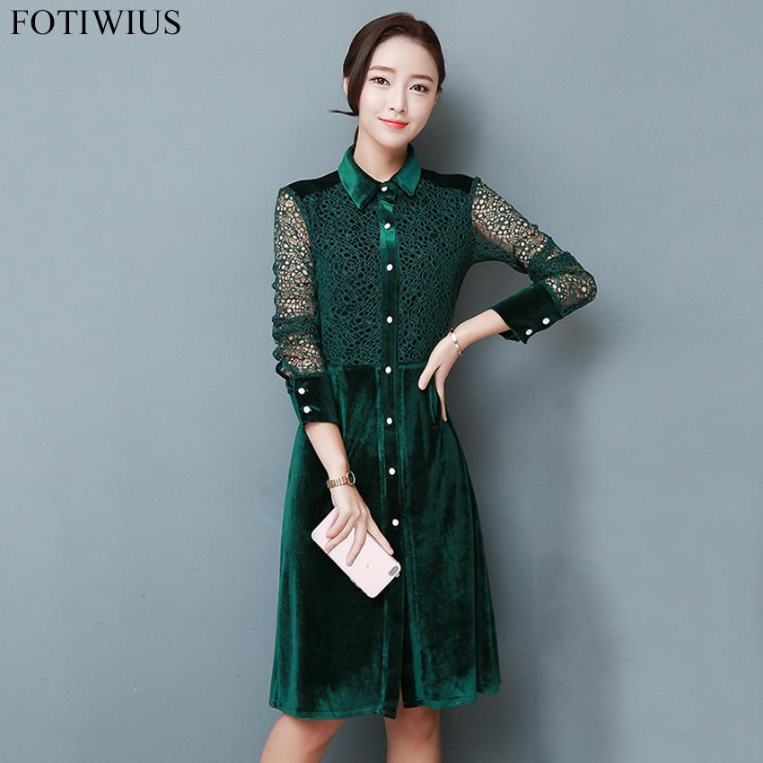bbc51c064d22 2019 3XL 2018 Autumn Winter Dress Women Long Sleeve Lace Patchwork Vintage Green  Velvet Dress Plus Size Shirt Robe Femme From Zhaolinshe, $37.96 | DHgate.