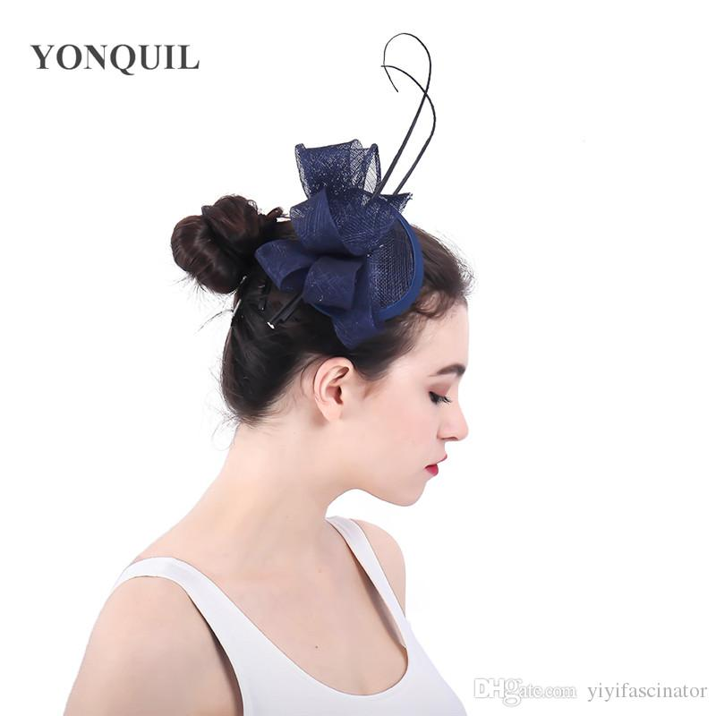 9978a0a7988 Navy Blue Classic Fascinator For Women Black HairClip Pillbox Hat Bowler  Feather Flower Sinamay Fedora Wedding Party Accessories SYF349 Hats For The  Races ...