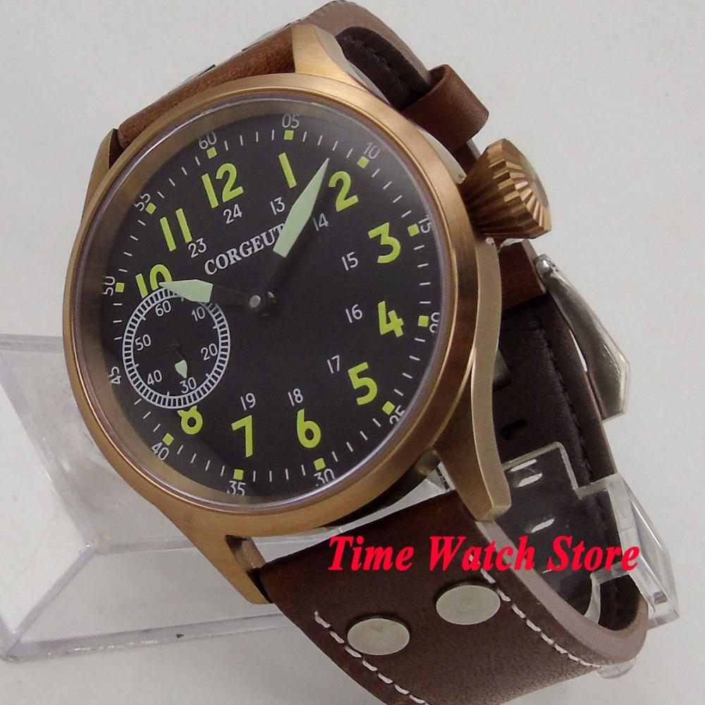 Solid 44mm bronze case Corgeut men's watch sapphire glass luminous 17 jewels 6497 Mechanical Hand Winding movement cor105