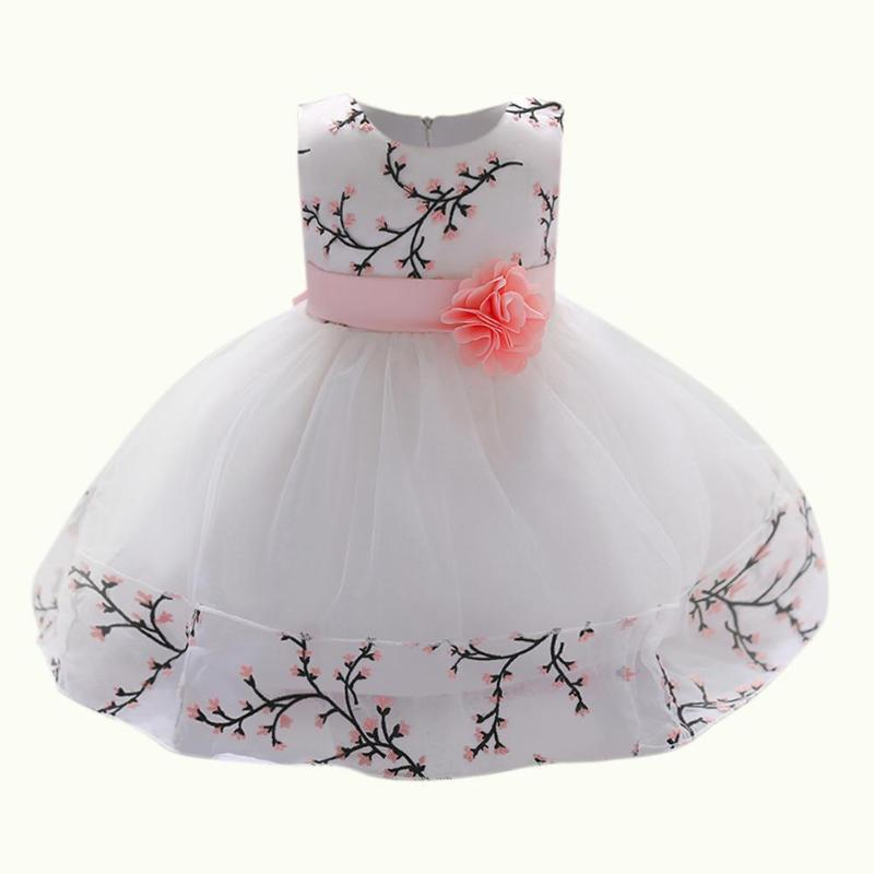 a5f203af7fae 2019 JOCESTYLE Princess Ball Gown Dress Baby Girls Cute Summer Sleeveless  Embroidery Bowknot Belt Decor Dress Birthday Ideal Gift From Newyearable