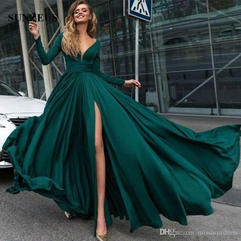 2018 New Green Sexy V-neck A-line Prom Dresses Long Sleeves Jersey Evening Gowns Elegant Party Gowns Side Slit Plus Size Custom Made Dresses