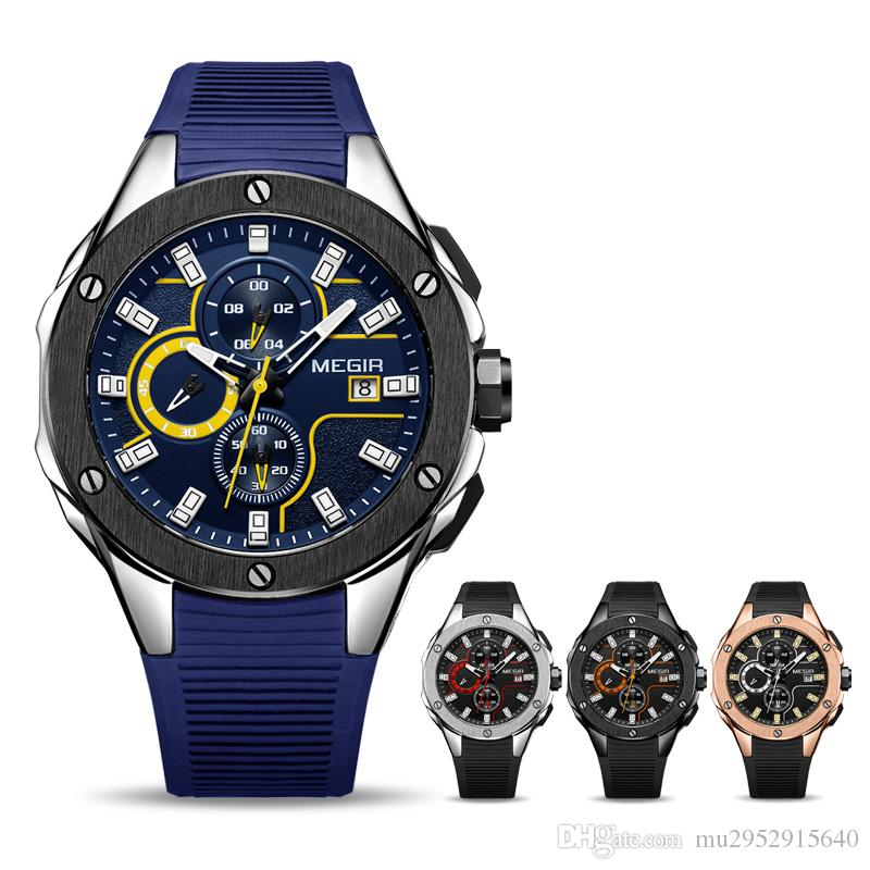8a5fec412cd MEGIR Men Sport Watch Chronograph Silicone Strap Quartz Army Military Watches  Clock Men Top Brand Luxury Male Relogio Masculino Watches Buy Online Buying  ...