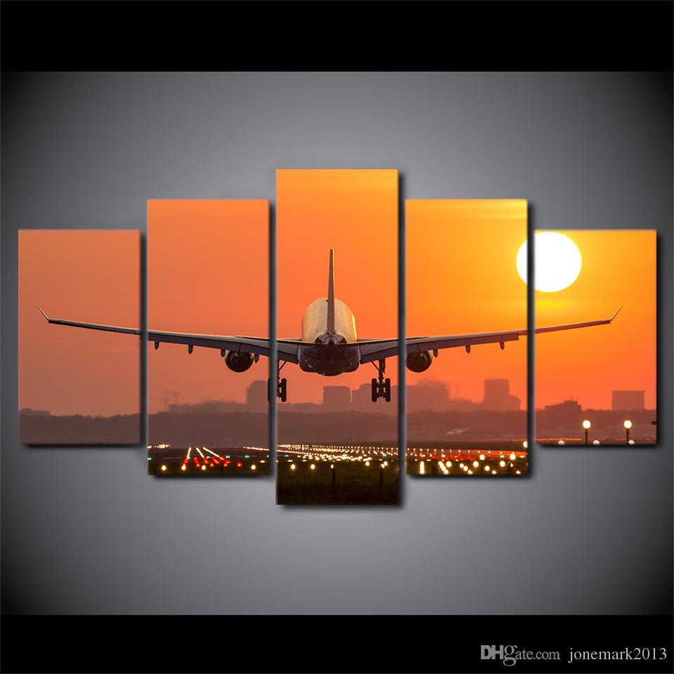 HD Printed Canvas Art Airplane Sunset Canvas Painting Wall Pictures for Living Room Home Decor CU-2688C