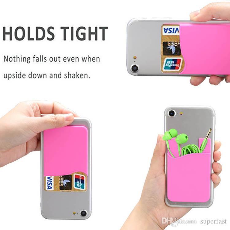 Tarjeta de crédito de la cartera de silicona Tarjeta de bolsillo de efectivo Tarjeta adhesiva adhesiva de 3M Adhesivo de la tarjeta de crédito para el iPhone Paquete de la aplicación de teléfono móvil de Samsung