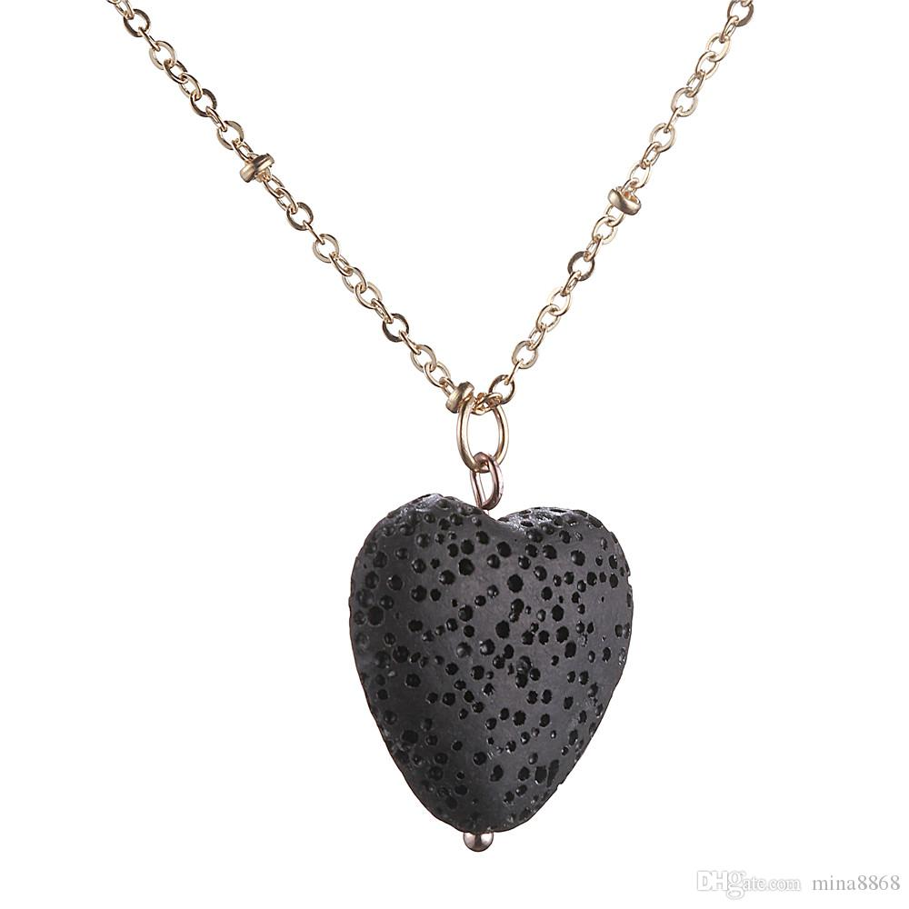 New Design Handmade Volcanic Stone Pendant Necklaces gold Plated Best Gift multi star/heart shape necklace For Women Fashion jewelry