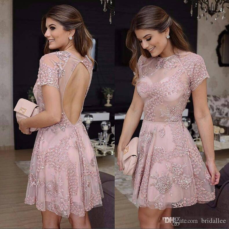 Short Lace Prom Dresses 2018 New Pink Homecoming Dresses Capped Sleeve with Beads A-Line Knee Length Backless Graduation Dresses Custom