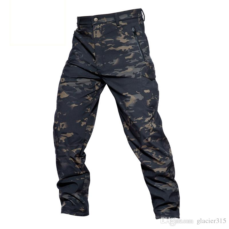 e8fdc0947b271 2019 Shanghai Story TAD Shark Skin Waterproof Windproof Outdoor Hiking  Climbing Camouflage Hunting Pants Men Fleece Trousers Military Army Pant  From ...