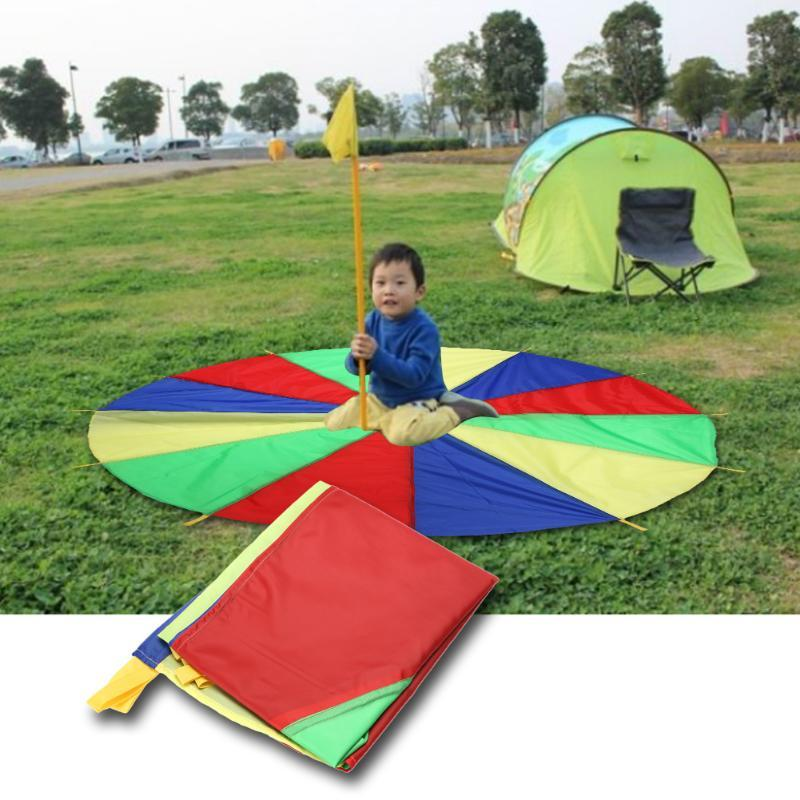 Kids Sports Outdoor Rainbow Umbrella Parachute Toy Parents Kids 2m Outing Camping Interactive Toy for Jump-Sack Ballute Play free shipping